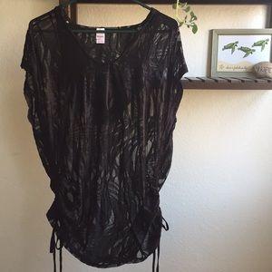 65c1a1c387 BONGO Black Hooded Semi Sheer Swim Coverup